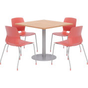"""KFI 36"""" Square Table & 4 Chair Set - Maple Table Top with Coral Chairs"""