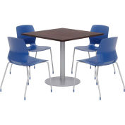 """KFI 36"""" Square Table & 4 Chair Set - Espresso Table Top with Navy Chairs"""