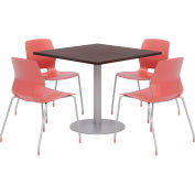 """KFI 36"""" Square Table & 4 Chair Set - Espresso Table Top with Coral Chairs"""
