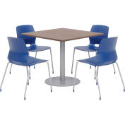 """KFI 36"""" Square Table & 4 Chair Set - Studio Teak Table Top with Navy Chairs"""