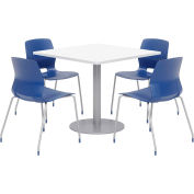 """KFI 36"""" Square Table & 4 Chair Set - Designer White Table Top with Navy Chairs"""