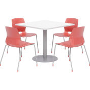 """KFI 36"""" Square Table & 4 Chair Set - Designer White Table Top with Coral Chairs"""