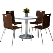 "KFI 36"" Round Dining Table & 4 Chair Set - Crisp Linen Table Top with  Espresso Chairs"