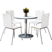 "KFI 36"" Round Dining Table & 4 Chair Set - Crisp Linen Table Top with  Crisp Linen Chairs"
