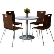 "KFI 36"" Round Dining Table & 4 Chair Set - Gray Nebula Table Top with  Espresso Chairs"