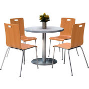 "KFI 36"" Round Dining Table & 4 Chair Set - Gray Nebula Table Top with  Natural Chairs"