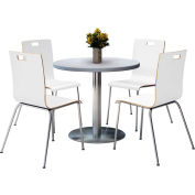 "KFI 36"" Round Dining Table & 4 Chair Set - Gray Nebula Table Top with  Crisp Linen Chairs"