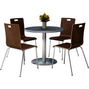 "KFI 36"" Round Dining Table & 4 Chair Set - Graphite Nebula Table Top with  Espresso Chairs"