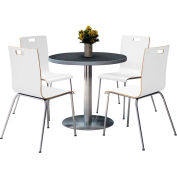"KFI 36"" Round Dining Table & 4 Chair Set - Graphite Nebula Table Top with  Crisp Linen Chairs"