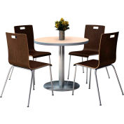"KFI 36"" Round Dining Table & 4 Chair Set - Natural Table Top with  Espresso Chairs"