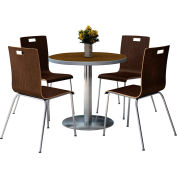 "KFI 36"" Round Dining Table & 4 Chair Set -  Walnut Tabletop with Espresso Chairs"