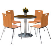 "KFI 36"" Round Dining Table & 4 Chair Set -  Walnut Tabletop with Natural Chairs"