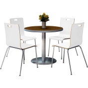 "KFI 36"" Round Dining Table & 4 Chair Set -  Walnut Tabletop with White Chairs"