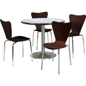 """KFI Dining Table & Chair Set - Round - 42""""W x 29""""H - Espresso Wood Chairs with Round Gray Table"""