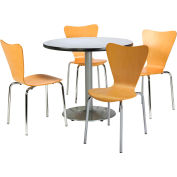 """KFI Dining Table & Chair Set - Round - 42""""W x 29""""H - Natural Wood Chairs with Gray Table"""