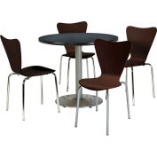 """KFI Dining Table & Chair Set - Round - 42""""W x 29""""H - Espresso Wood Chairs with Round Graphite Table"""