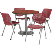 "KFI Dining Table & Chair Set - Round - 42""W x 29""H - Burgundy Plastic Chair with Mahogany Table"
