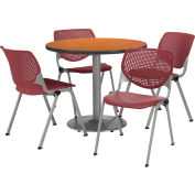 "KFI Dining Table & Chair Set - Round - 42""W x 29""H - Burgundy Plastic Chair with Medium Oak Table"