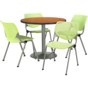 "KFI Dining Table & Chair Set - Round - 42""W x 29""H - Lime Plastic Chairs with Medium Oak Table"
