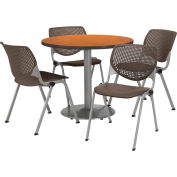"KFI Dining Table & Chair Set - Round - 42""W x 29""H - Brown Plastic Chair with Medium Oak Table"