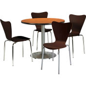 """KFI Dining Table & Chair Set - Round - 42""""W x 29""""H - Espresso Wood Chairs with Round Oak Table"""