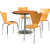 """KFI Dining Table & Chair Set - Round - 42""""W x 29""""H - Natural Wood Chairs with Medium Oak Table"""
