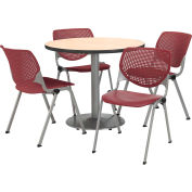 "KFI Dining Table & Chair Set - Round - 42""W x 29""H - Burgundy Plastic Chair with Natural Table"