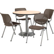 "KFI Dining Table & Chair Set - Round - 42""W x 29""H - Brown Plastic Chair with Natural Table"