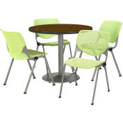 "KFI Dining Table & Chair Set - Round - 42""W x 29""H - Lime Plastic Chairs with Walnut Table"