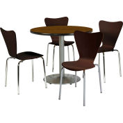 """KFI Dining Table & Chair Set - Round - 42""""W x 29""""H - Espresso Wood Chairs with Round Walnut Table"""