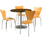 """KFI Dining Table & Chair Set - Round - 42""""W x 29""""H - Natural Wood Chairs with WalnutTable"""