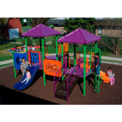 Playsystem W/Pyramid Roofs In Light Green/Purple/Orange/Blue Combination, For Ages 2-5