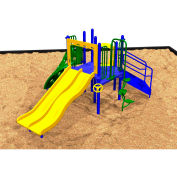 Playsystem W/Dual Slides In Orange/Purple/Green/Yellow/Blue/Red Combination, For Ages 2-12