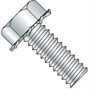 8-32 x 1/2 Unslot Indent Hex 5/16 AF Sems Machine Screw - Full Thread - Zinc - Pkg of 10000