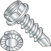 #10 x 1 Slot Indented Hex Washer Serrated Self Drilling Screw Full Thread Zinc Bake - Pkg of 5000