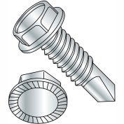 1/4-20X1  Unslot Ind Hexwasher Serrated Self Drilling Screw Full Thread Zinc Bake, Pkg of 2500