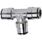 "Koolfog 06PUT-NI 3/8"" OD Nickel Plated Brass Push-In Union Tee"