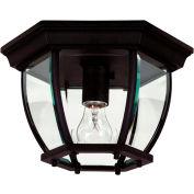 """Kenroy Lighting, Dural 1 Light Flush Mount, 16277BL Black Finish, Aluminum, 11""""L"""