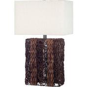 """Kenroy Lighting, Whistler Table Lamp, 20976DW, Dark Wicker Finish, Wicker, 17""""L"""