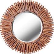 """Kenroy Lighting, Piper Wall Mirror, 61019, Natural Wood Finish, Natural Reed, 2""""L"""