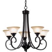"Kenroy Lighting, Welles 5 Light Chandelier, 80475ORB, Oil Rubbed Bronze Finish, Metal, 28""L"