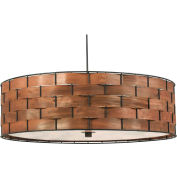 "Kenroy Lighting, Shaker 3 Light Pendant, 92038DWW, Dark Woven Wood Finish, Metal, 24""L"
