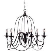 "Kenroy Lighting, Pannier 6 Light Chandelier, 93066ORB, Bronze Finish W/Silver Highlights, 29""L"