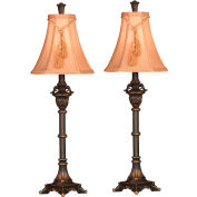 "Kenroy Lighting, Rowan Buffet Lamp 2-Pack, D196745, Metallic Bronze Finish, Resin, 12""L"