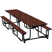 KI 12' Cafeteria Table with Benches - Brighton Walnut