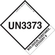 LabelMaster® étiquettes UN3373 avec onglet étendu, 4» x 4-3/4», Blanc/Noir, 500 Étiquettes
