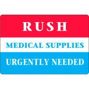 """LabelMaster® étiquettes «Rush Medical Supplies», 4""""L x 2-3/4""""W, Rouge/Blanc/Bleu, Rouleau de 500"""