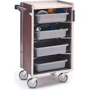 Lakeside® 890 4 Shelf Md Ledge Bussing Cart - 27-3/4X17-5/8 Walnut