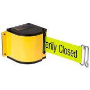 "Lavi Industries Yellow Quick Mount Barricade, 18'L ""Please Do Not Enter"" Belt, Modified Mount"