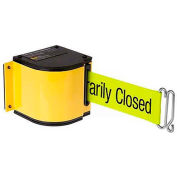 "Lavi Industries Yellow Quick Mount Barricade, 18'L ""Please Do Not Enter"" Belt, Modified Mount"